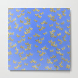 Golden butterflies on blue backround- Beautiful pattern Metal Print