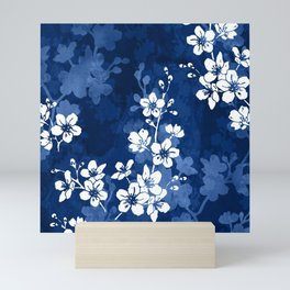 Sakura blossom in deep blue Mini Art Print