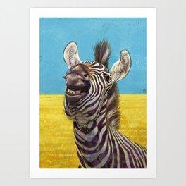 Smiling Zebra 02 Art Print