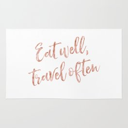 Eat well, travel often - rose gold quote Rug