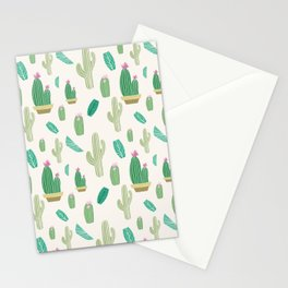 Ivory pastel blush green pink cactus floral Stationery Cards
