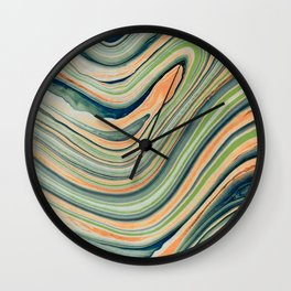 Watercolor marble waves Wall Clock