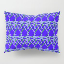 Braided diagonal pattern of wire and light arrows on a blue background. Pillow Sham