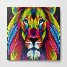 Colourful Lion Metal Print