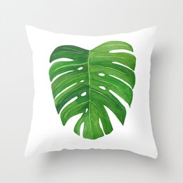 Monstera Deliciosa Leaf Throw Pillow