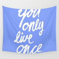 yolo Wall Tapestries featuring YOLO by Pink Berry Patterns