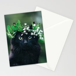 Black Cat in Flower Crown Stationery Cards
