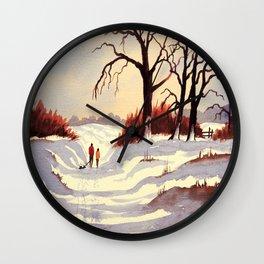 Sledding At Christmas Time Wall Clock
