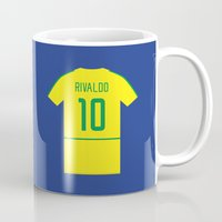 ronaldo Mugs featuring Ronaldo and Rivaldo Brazil Great Partnerships by Mark McKenny