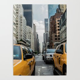 Taxis on New York City Street Poster