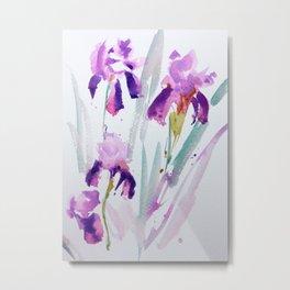 Purple Irises II Metal Print