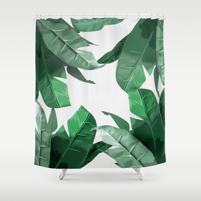 Tropical Palm Print Shower Curtain by tamsinlucie | Society6
