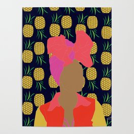 Pineapple Bawse Babe (Blue) Poster