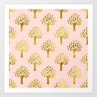 gold foil Art Prints featuring Pink Gold Foil 02 by Aloke Design
