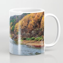Scenic Fall Nature Lanscape with Stream and Hills Coffee Mug