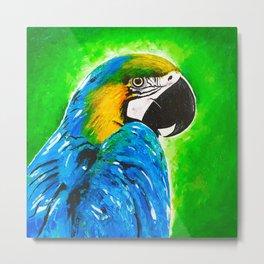 Parrot. Bird Painting. Blue Green Yellow Metal Print