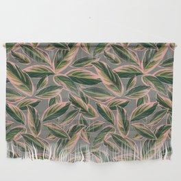 Calathea Leaves Pattern- Pink Green Gray Wall Hanging