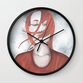 redhead girl with tatoo Wall Clock