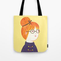 redhead Tote Bags featuring Redhead by Ana Albero