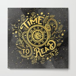Time to Read - Gold Metal Print