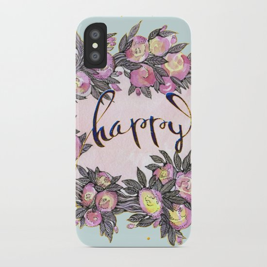 Happy flowers bridal pattern iPhone Case