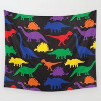 dinosaurs Wall Tapestries featuring Dinosaurs - Black by Dizana Designs