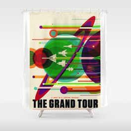 NASA Outer Space Saturn Shuttle Retro Poster Futuristic Explorer Shower Curtain