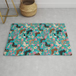 Dachshund dog breed floral pure breed weener dogs doxie dachsie must have Rug