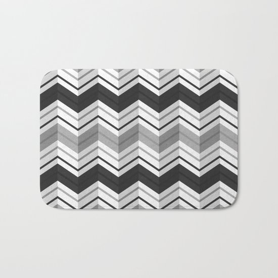 CHEVRON STRIPES - BLACK Bath Mat