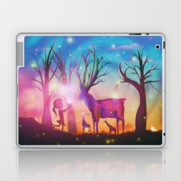 Girl meeting magical forest animals Laptop & iPad Skin