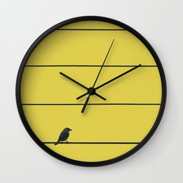Bird and wires Wall Clock