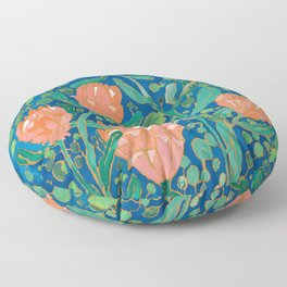 Coral Proteas on Blue Pattern Painting Floor Pillow