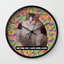 Loops Brother Kitty Wall Clock