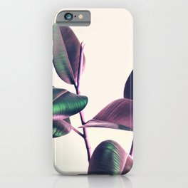 Pink and Green Iridescent Leaves iPhone Case