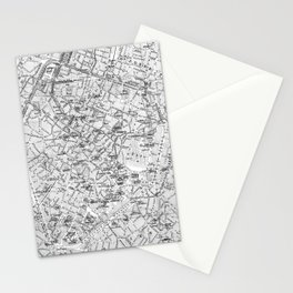 Vintage Map of Brussels (1905) BW Stationery Cards