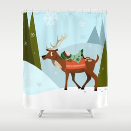 Christmas deer and elf Shower Curtain