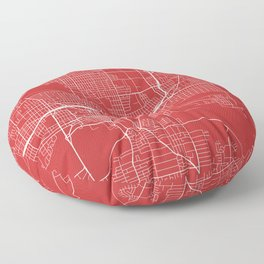 Des Moines Map, USA - Red Floor Pillow