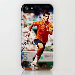 Novak Djokovic Tennis Chasing a Lob iPhone Case