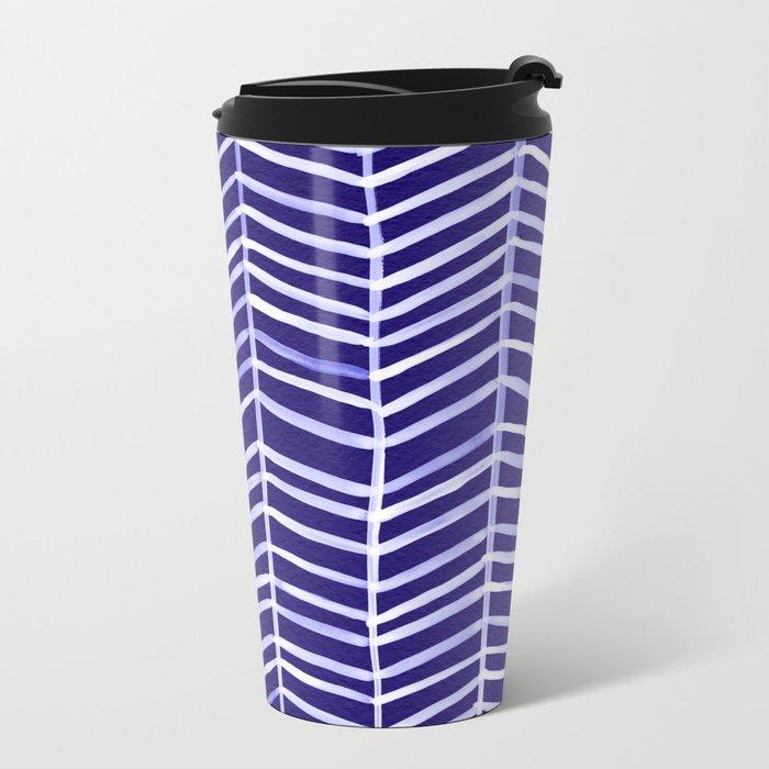 Herringbone – Navy & White Metal Travel Mug