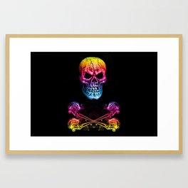 Skull And Crossbones Rainbow Framed Art Print