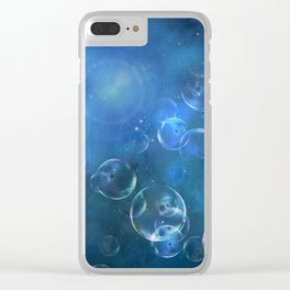 floating bubbles blue watercolor space background Clear iPhone Case
