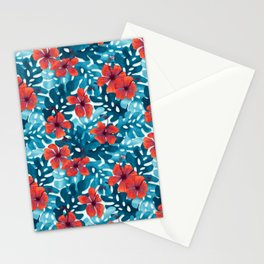 Tropical Hibiscus Pattern Red Stationery Cards