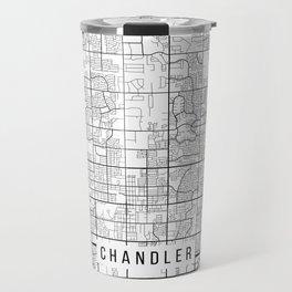 Chandler Map, Arizona USA - Black & White Portrait Travel Mug