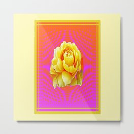 Yellow Roses Rosy Pink Geometric Abstract Metal Print