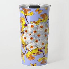 """""""Joy Of Spring"""" Daffodils in Blue Shades Travel Mug"""