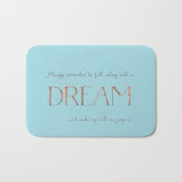 Always remember to fall asleep with a dream - Gold Teal Vintage Glitter Typography Bath Mat