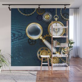 Steampunk blue background with magnifier Wall Mural