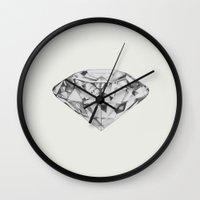 diamond Wall Clocks featuring Diamond by Linnette Vazquez