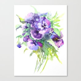 Pansy, flowers, violet flowers, gift for woman design floral vintage style Canvas Print