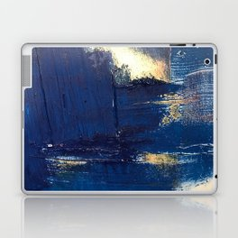 Halo [2]: a minimal, abstract mixed-media piece in blue and gold by Alyssa Hamilton Art Laptop & iPad Skin